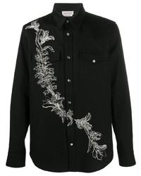 Chemise en jean brodée noire Alexander McQueen