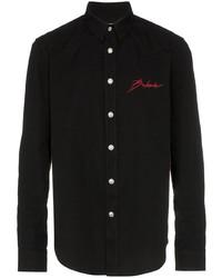 Chemise en jean brodée noire Balmain