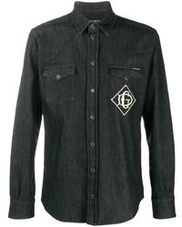 Chemise en jean brodée noire Dolce & Gabbana