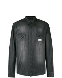 Chemise en jean brodée noire Philipp Plein