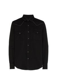 Chemise en jean brodée noire Saint Laurent