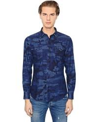 Chemise en jean camouflage bleu marine