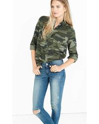 Chemise en jean camouflage verte