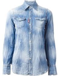 Chemise en jean délavée à l'acide bleu clair Dsquared2