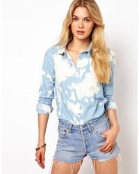 Chemise en jean délavée à l'acide bleu clair Vila
