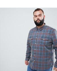 Chemise en jean écossaise bleue ASOS DESIGN
