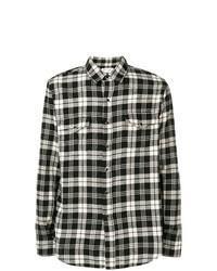 Chemise en jean écossaise noire et blanche Saint Laurent