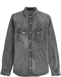 Chemise en jean gris foncé