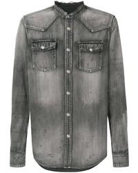 Chemise en jean gris foncé Balmain