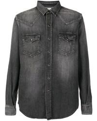 Chemise en jean gris foncé Saint Laurent