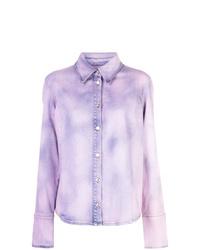 Chemise en jean imprimé tie-dye violet clair MSGM