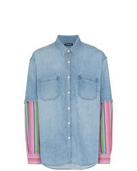 Chemise en jean imprimée bleu clair Balenciaga