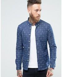 Chemise en jean imprimée bleue Asos