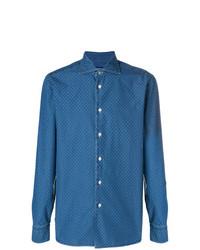 Chemise en jean imprimée bleue Borriello