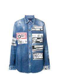 Chemise en jean imprimée bleue DSQUARED2