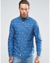 Chemise en jean imprimée bleue Lee