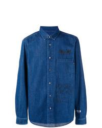 Chemise en jean imprimée bleue MSGM