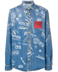 Chemise en jean imprimée bleue Versace