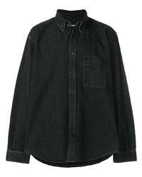 Chemise en jean imprimée noire Balenciaga