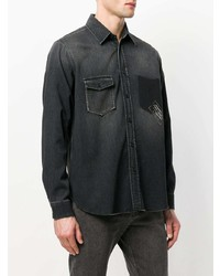 Chemise en jean imprimée noire Saint Laurent