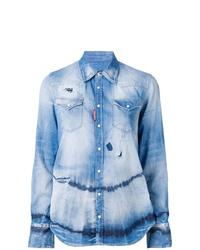 Chemise en jean imprimée tie-dye bleu clair Dsquared2