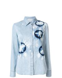 Chemise en jean imprimée tie-dye bleu clair Stella McCartney