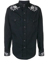 Chemise en jean noire Saint Laurent