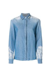 Chemise en jean ornée bleu clair Ermanno Scervino