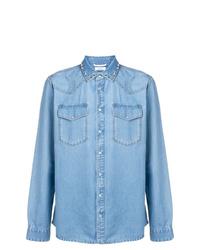 Chemise en jean ornée bleu clair Valentino
