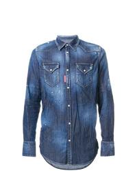 Chemise en jean ornée bleue DSQUARED2
