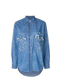 Chemise en jean ornée bleue Forte Dei Marmi Couture