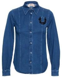 Chemise en jean ornée bleue No.21