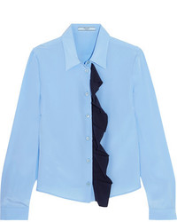 Chemise en soie bleu clair Prada