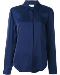 Chemise en soie bleu marine DKNY