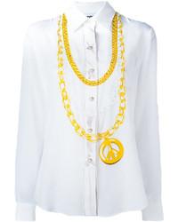 Chemise en soie imprimée blanche Moschino