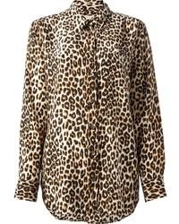 Chemise en soie imprimée léopard marron Equipment