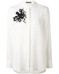 Chemise en soie ornée blanche Alexander McQueen