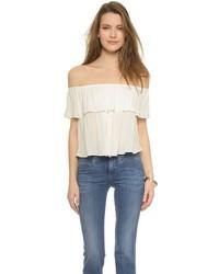Chemise paysanne à volants blanche Glamorous