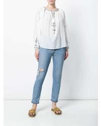 Chemise paysanne brodée blanc et bleu Isabel Marant Etoile