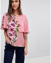 Chemisier à manches courtes à fleurs rose Vila