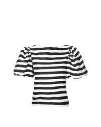 Chemisier à manches courtes à rayures horizontales blanc et noir Bambah