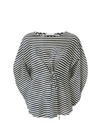 Chemisier à manches courtes à rayures horizontales blanc et noir Societe Anonyme