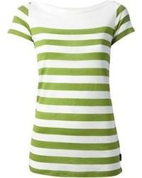 Chemisier à manches courtes à rayures horizontales blanc et vert Burberry
