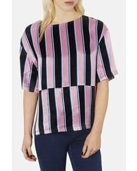 Chemisier à manches courtes à rayures verticales rose et noir