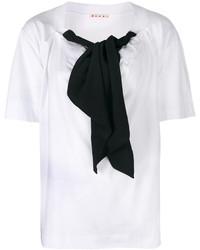 Chemisier à manches courtes blanc et noir Marni