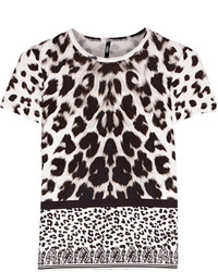Chemisier à manches courtes imprimé léopard blanc et noir