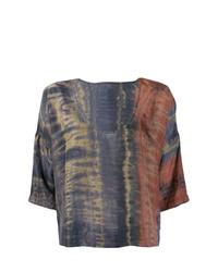Chemisier à manches courtes imprimé tie-dye multicolore