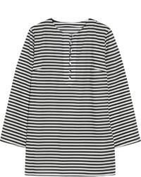 Chemisier à manches longues à rayures horizontales blanc et noir Dolce & Gabbana