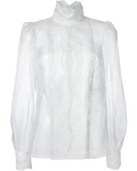 Chemisier à manches longues en dentelle blanc Dolce & Gabbana