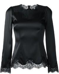 Chemisier à manches longues en dentelle noir Dolce & Gabbana